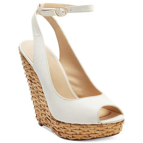nine west karmic platform wedge sandals in white lyst