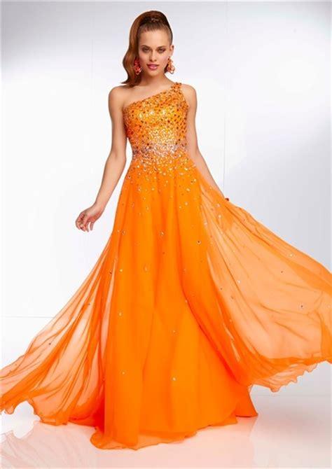 elegant  shoulder long neon orange chiffon beaded prom