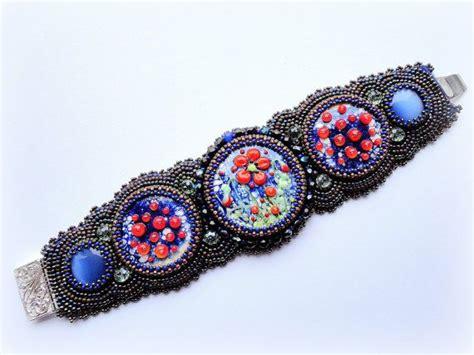 beadwork blue beadwork blue bracelet flower bracelet embroidery
