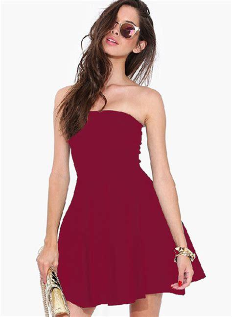 solid color dresses s strapless shoulder solid color dress roawe