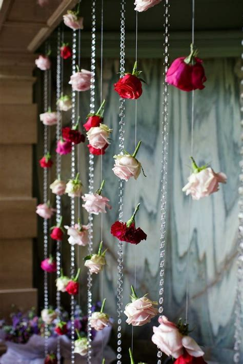 hanging wedding flower curtains backdrops