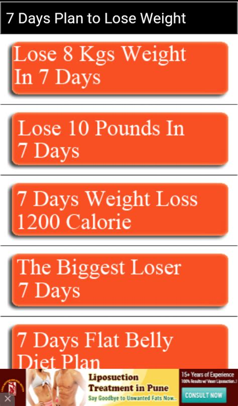 weight loss 7 day plan diet plan weight loss 7 days android apps on play