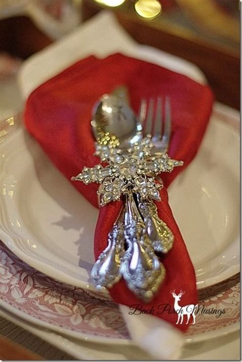 elegant christmas table christmas pinterest silver snowflake napkin ring tablescape centerpiece place