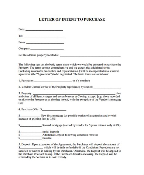 Sle Letter Of Intent To Repay Loan Sle Letter Of Intent To Purchase Property 8 Free