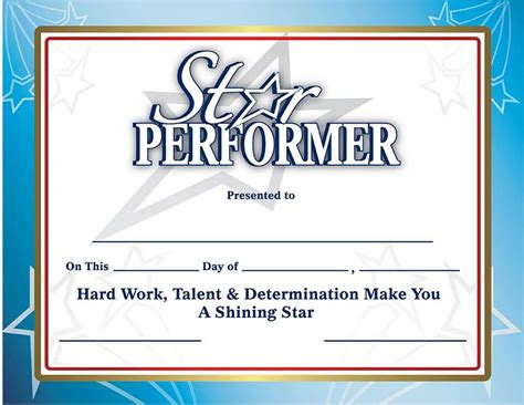 Recognition Certificates   Star Performer Certificates