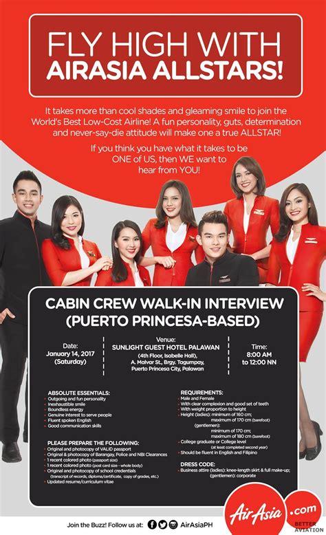airasia walk in interview airasia philippines cabin crew walk in interview puerto