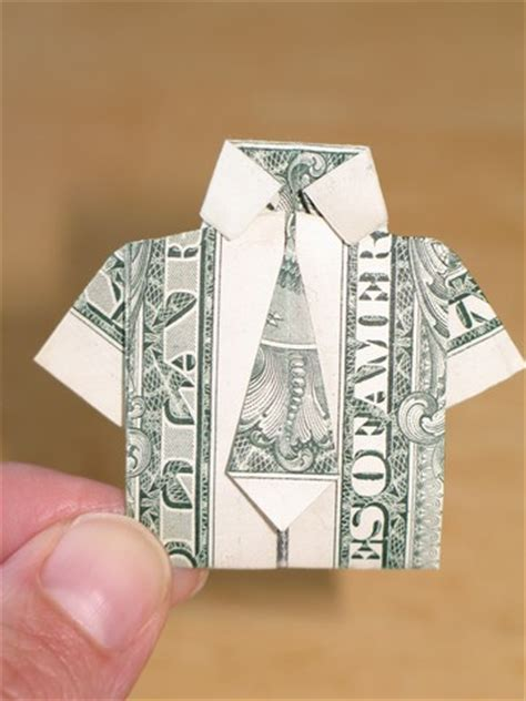 Origami Dollar Bill Shirt With Tie - paper money origami with american dollar bills shirt
