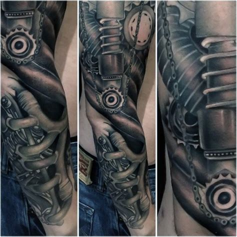 biomechanical tattoos for men 50 mechanic tattoos for masculine robotic overhauls