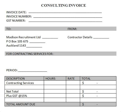 8 Consulting Invoice Sles Sle Templates Microsoft Word Consulting Invoice Template