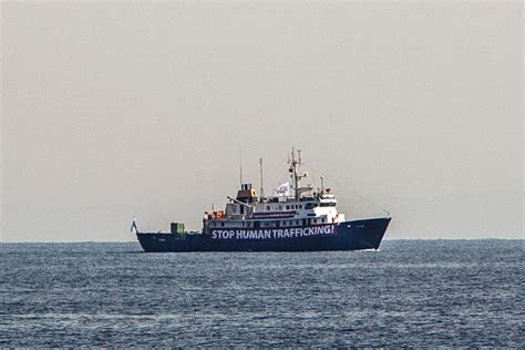 refugee migrant rescue boat c star anti immigration ship rescued by refugee boat sea