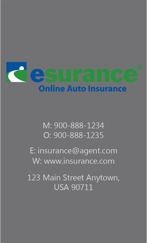 Nationwide Insurance Card Template by Gray Esurance Business Card Design 204041