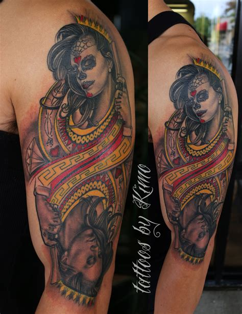 queen of hearts tattoos of hearts by kimo tattoos by kimo