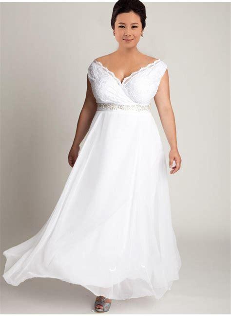 cheap plus size v neck lace wedding dress 2016 simple