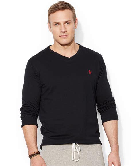 Black Blouse Oversized Kemeja Polos Diskon polo ralph big and sleeve v neck t shirt in black for lyst