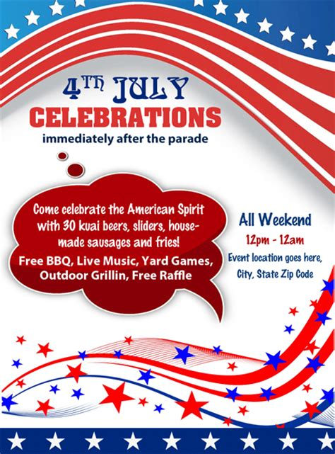 fourth of july flyer template free 4th july independence day celebrations flyer
