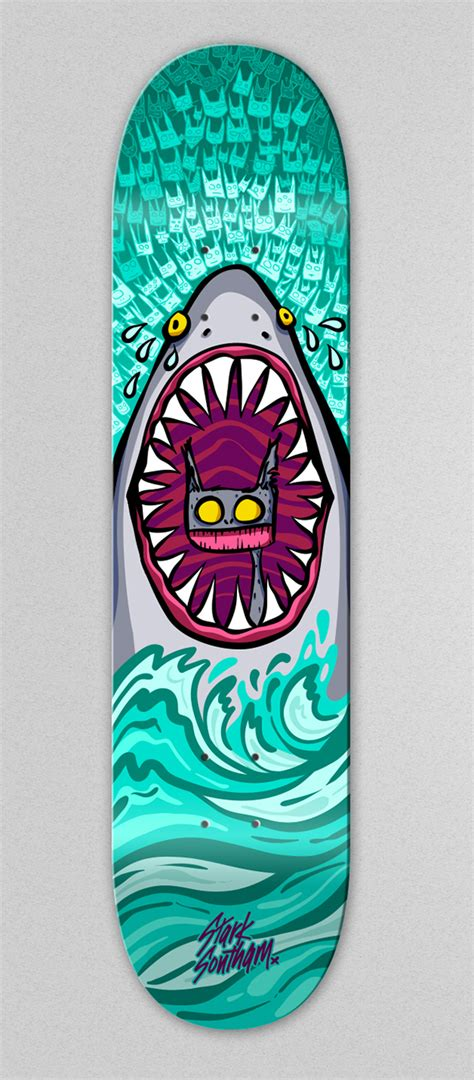 skateboard deck design skate deck sad shark a cat on behance