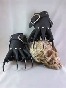 black leather steunk claw gauntlets gloves