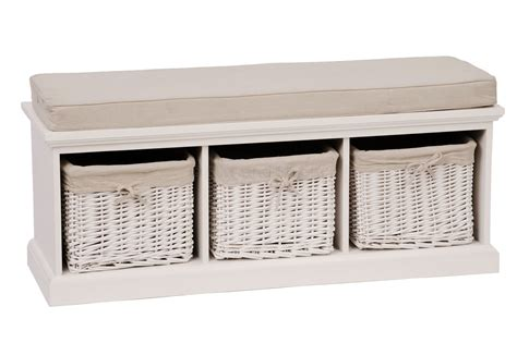 white storage bench with seat white 3 basket storage bench bliss and bloom ltd
