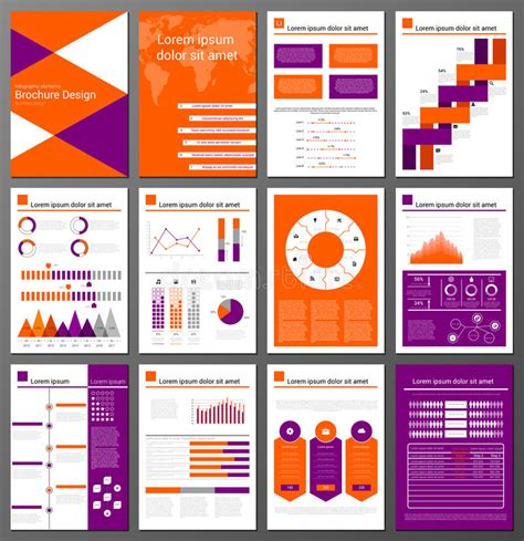 infographics brochure layout infographic brochure and flyer design templates set stock