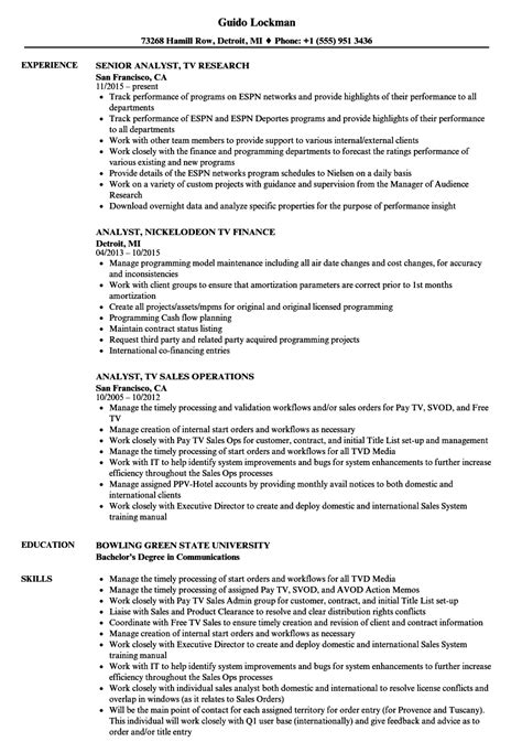 Network Analyst Resume Exle by Tv Analyst Resume Sles Velvet