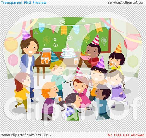 Cartoon of a Female Teacher and Happy Diverse School