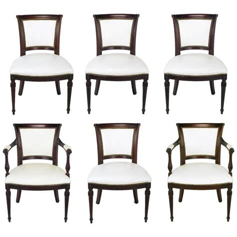1940s Dining Room Furniture Set Of Six 1940s Louis Xvi Style Cherry And White Leather Dining Chairs For Sale At 1stdibs
