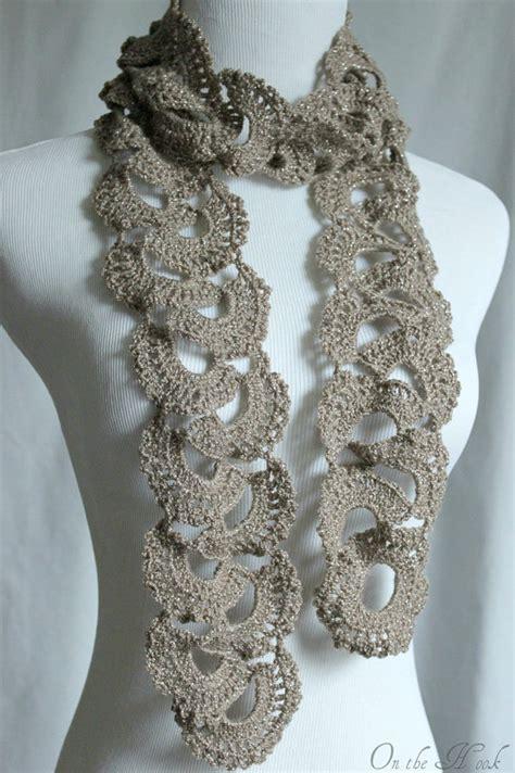 crochet pattern queen anne s lace scarf crochet scarf queen annes lace scarf silver taupe on luulla
