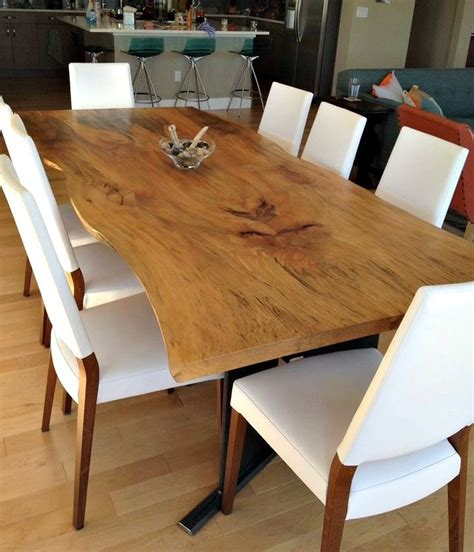 custom made dining room furniture hand made bookmatched live edge sycamore dining table by