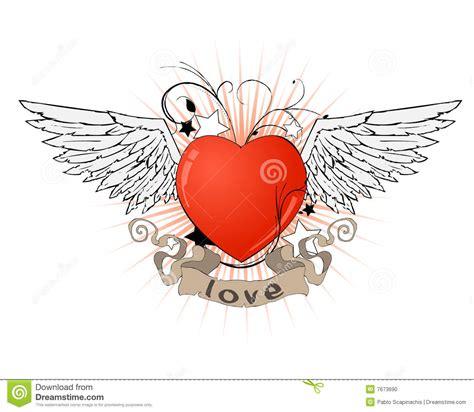 tattoo cuore con le ali cuore con le ali ed il nastro fotografia stock immagine