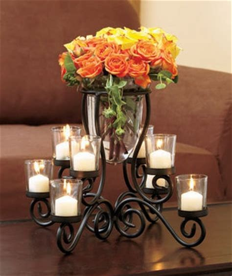 Vase With Candle Centerpiece by 8 Cup Votive Glass Metal Candle Holder With Vase Table