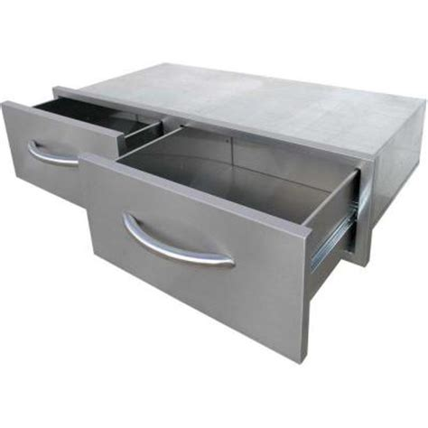 outside storage drawers cal flame outdoor kitchen stainless steel 2 drawer