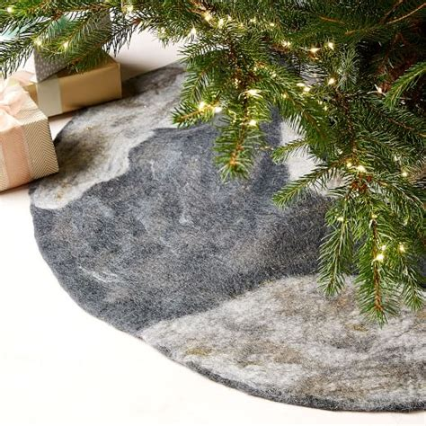 felt metallic thread tree skirt gray west elm