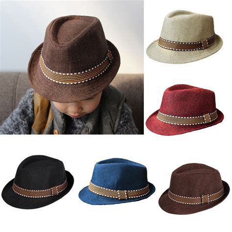 baby child summer fedora hats jazz cool toddler boy