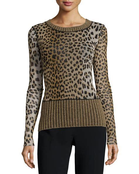 Leopard Print Pullover lyst fuzzi sleeve leopard print sweater in green