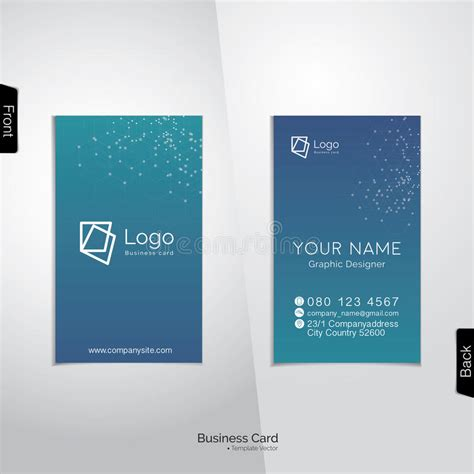 pale blue business card template free modern vertical business card vector template stock vector