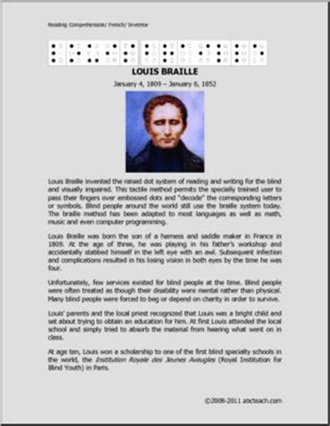 biography passages for middle school free middle school reading comprehension packet on louis
