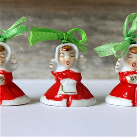 japanese ceramic christmas ornament 1950 vintage bells porcelain from umbrellafant