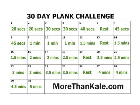 innovative 30 day plank challenge printable calendar