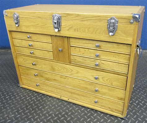 Wooden Tool Chest With Drawers Plans by 10 Drawer Wooden Machinist S Tool Chest Box Ebay