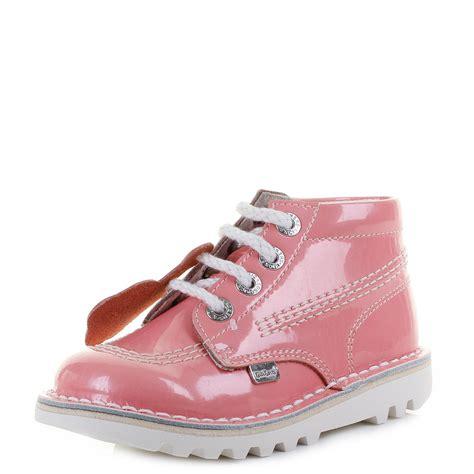 light pink infant shoes kickers infant kick hi patent light pink lace