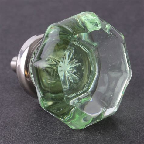 Green Glass Knob by Green Cut Glass Knob Octagon W Chrome 36mm