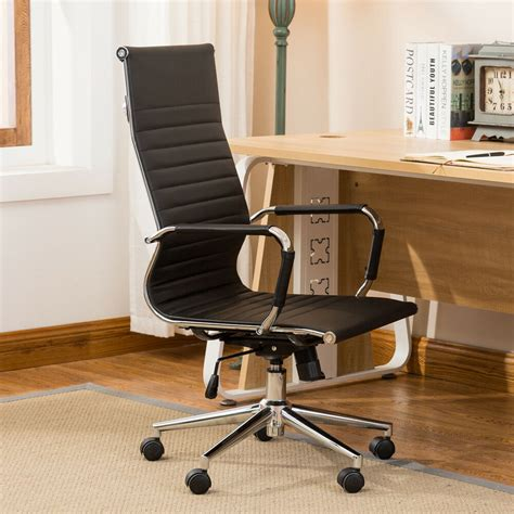 Chair For High Desk by Ergonomic Ribbed Pu Leather High Back Executive Computer