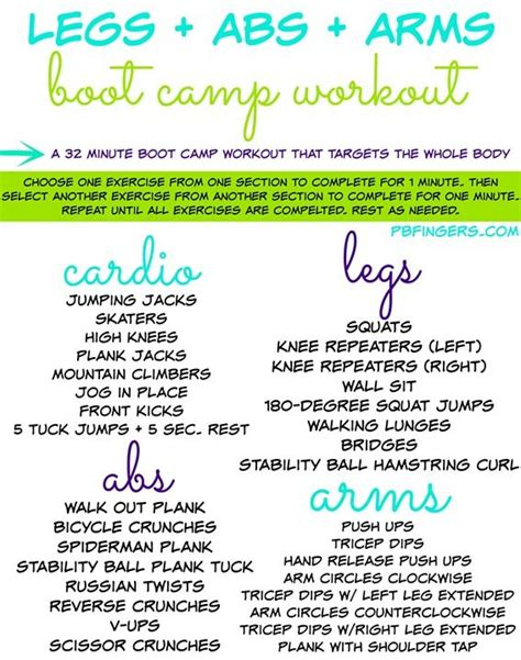 legs abs arms boot c workout peanut butter