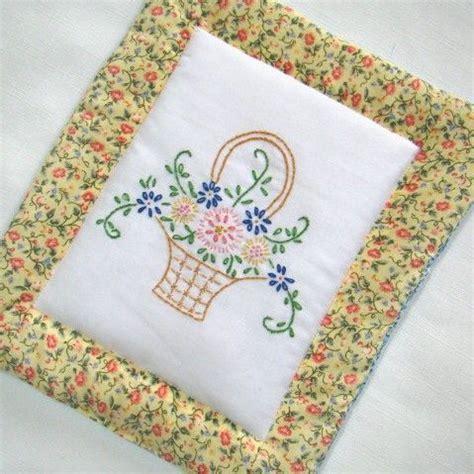 embroidery pattern holder flower basket pot holder hand embroidered with vintage