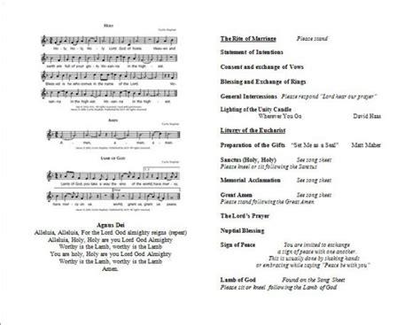 layout of catholic wedding mass full mass wedding program weddingbee