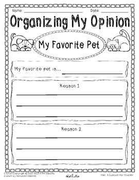My Favorite Pet Essay by Opinion Writing And Graphic Organizer My Favorite Pet Differentiated
