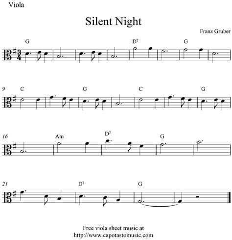 free printable sheet music viola free viola sheet music silent night