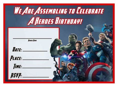 free avengers age of ultron printable birthday invitation