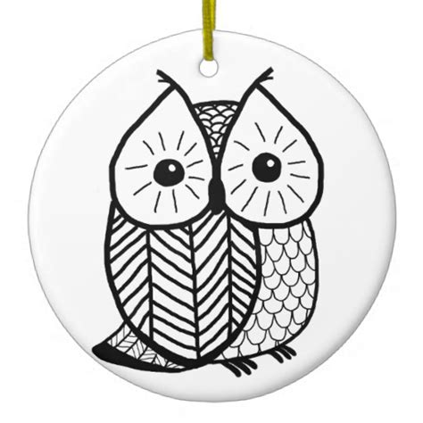 black and white owl christmas tree ornaments zazzle