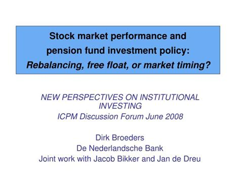 on market timing and investment performance vol 1 an equilibrium theory of value for market forecasts classic reprint books ppt new perspectives on institutional investing icpm